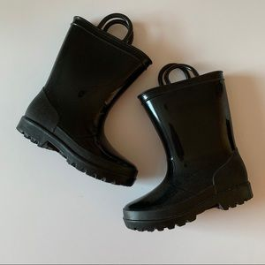 Toddler Rubber Black Boots, size 10